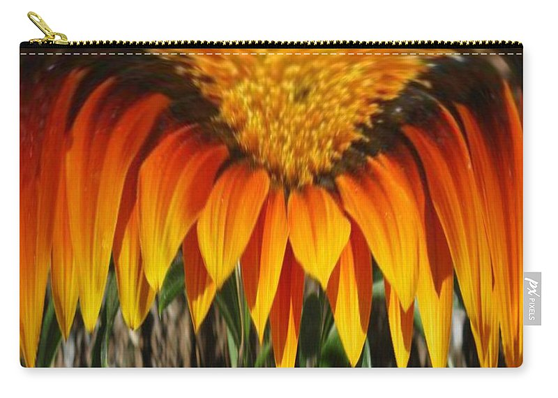 Gold Flower Carry-all Pouch featuring the digital art Falling Fire by Barbara Griffin