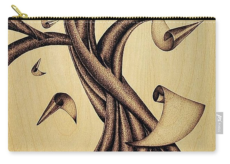 Albero Carry-all Pouch featuring the pyrography Falling by Ilaria Andreucci