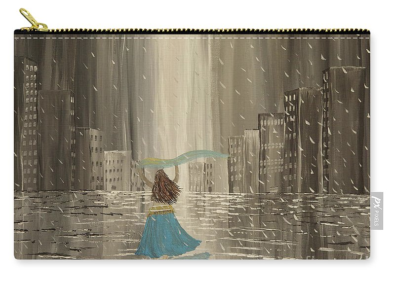 Rain Carry-all Pouch featuring the painting Falling Out Of Love by Shandra Anaid