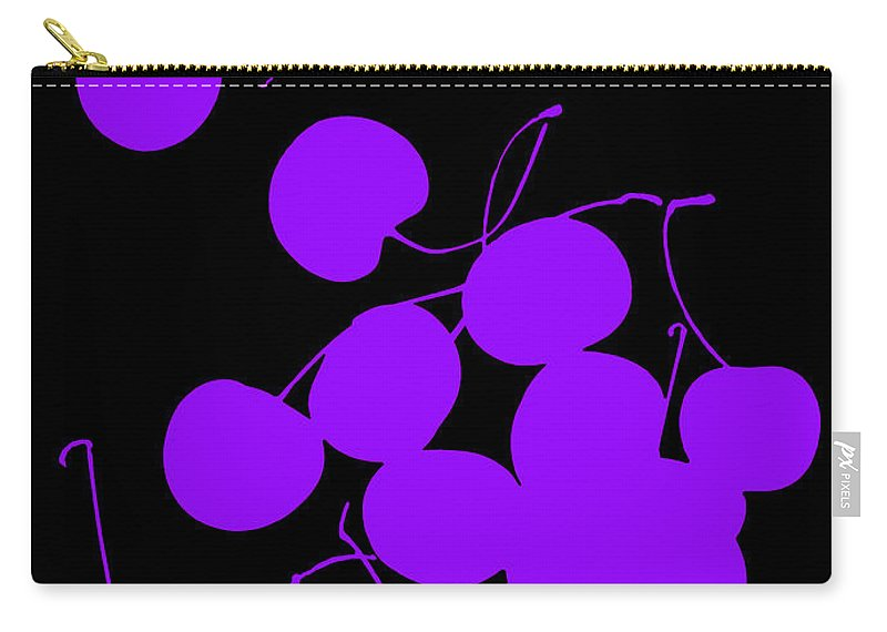 Purple Cherry Cherries Black Stem Fruit Carry-all Pouch featuring the photograph Falling Purple Cherries by Heather Kirk