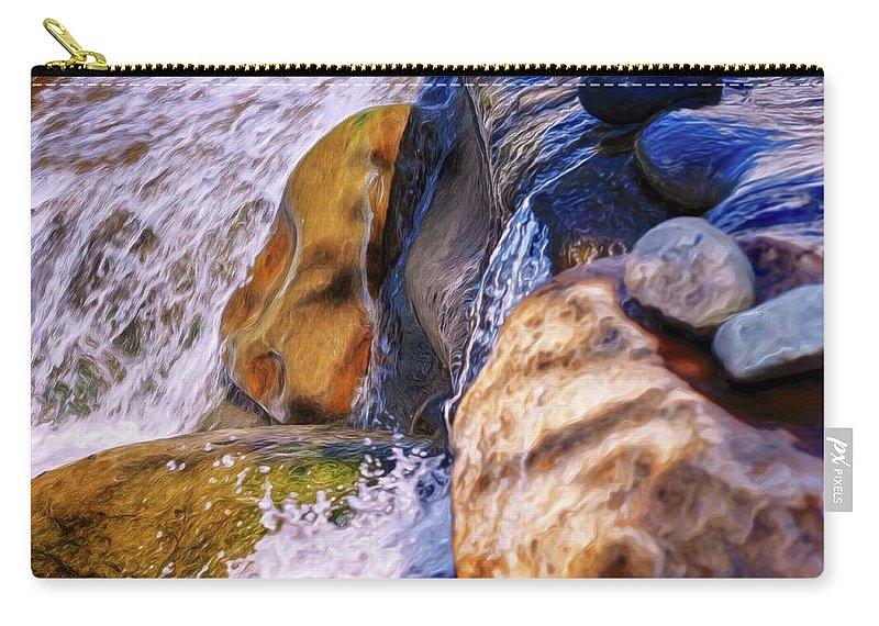 Falling Water Rocks Dark Contrast Color Chiaroscuro Renaissance Mehta Xephon Painting Cancer Hope Carry-all Pouch featuring the digital art Falling Water by Doctor MEHTA