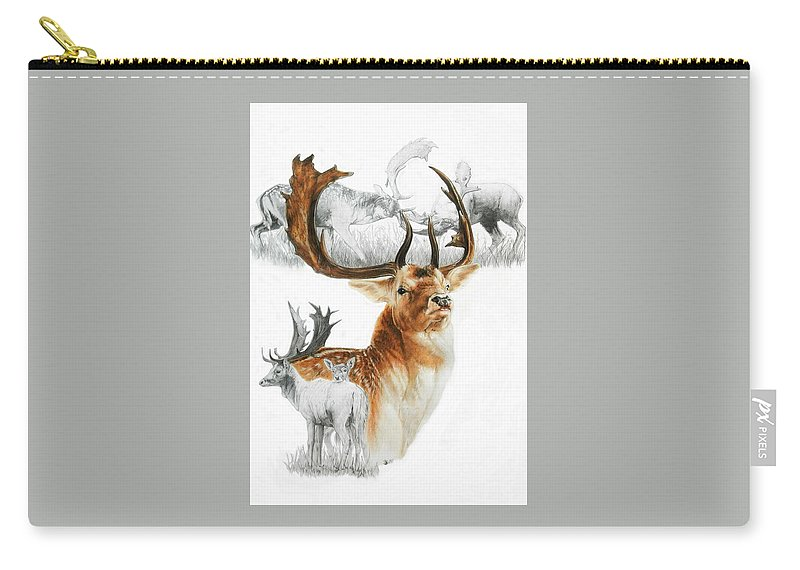 Deer Carry-all Pouch featuring the mixed media Fallow Deer of Europe by Barbara Keith