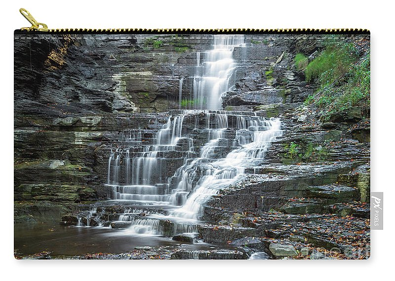 New York Carry-all Pouch featuring the photograph Falls Creek Gorge Trail Ithaca New York by Karen Jorstad