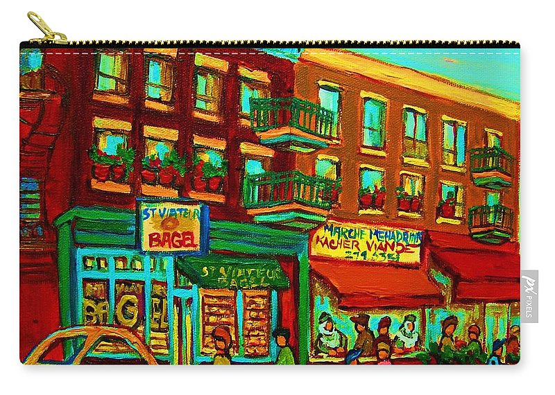 St Viateur Bagel Shop Montreal Street Scenes Carry-all Pouch featuring the painting Family Frolic On St.viateur Street by Carole Spandau