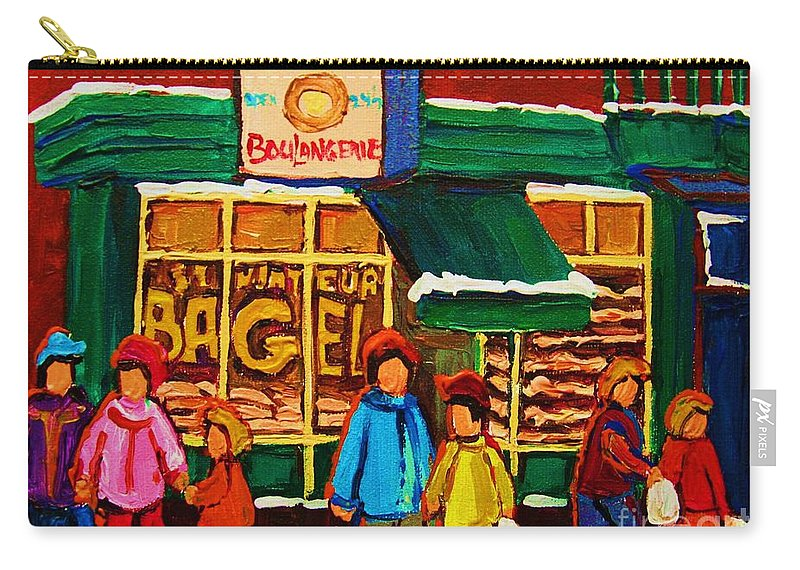 St.viateur Bagel Carry-all Pouch featuring the painting Family Fun At St. Viateur Bagel by Carole Spandau