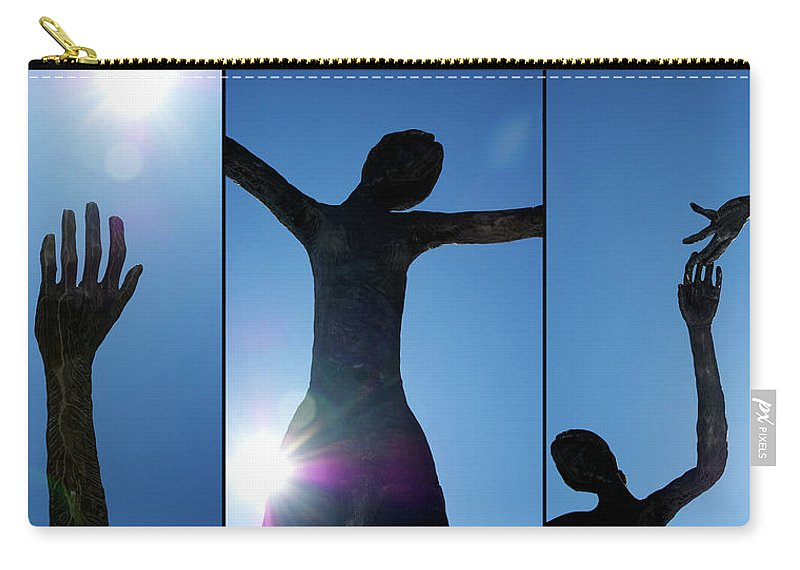 This Triptych Is Composed From Glimpses Of the Family Of Man Sculpture By Mario Armengol Shot Against The Blue Carry-all Pouch featuring the photograph Family Of Man by Lisa Knechtel