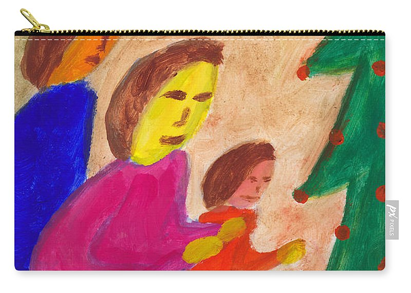 Family Carry-all Pouch featuring the painting Family Praise by Matthew Doronila
