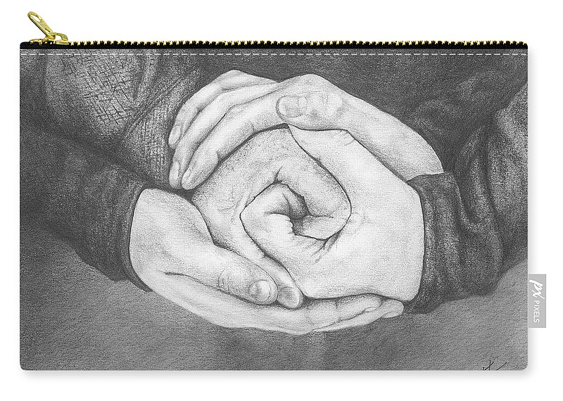 Family Carry-all Pouch featuring the drawing Family Rose by Don Scott