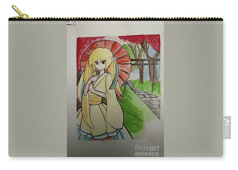 Japanese Carry-all Pouch featuring the drawing Fan Girl by Lauren Champion