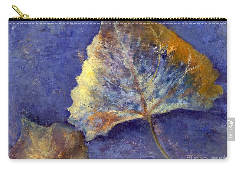 Leaves Carry-all Pouch featuring the painting Fanciful Leaves by Chris Neil Smith