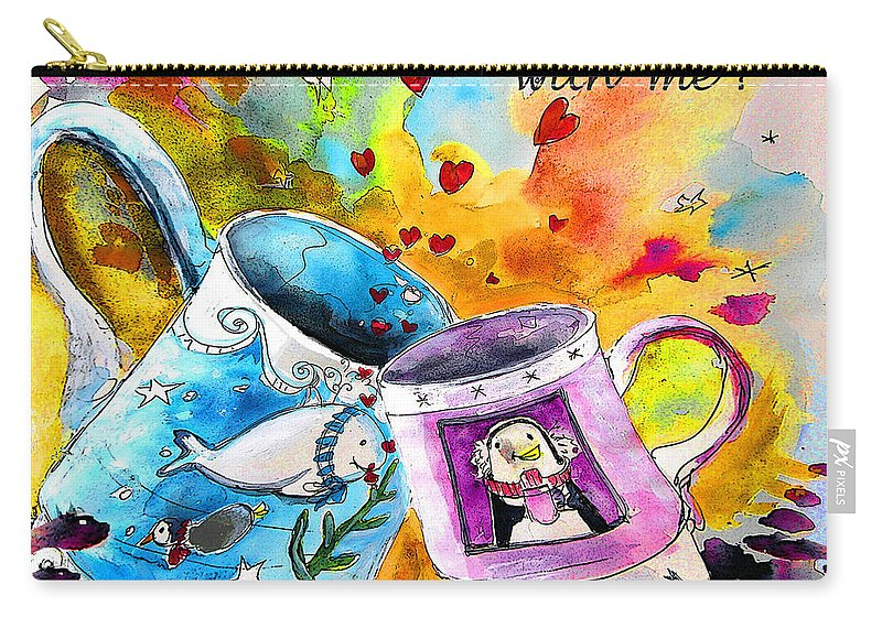 Cafe Crem Carry-all Pouch featuring the painting Fancy A Coffee by Miki De Goodaboom