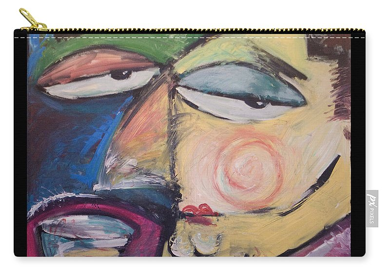 Humor Carry-all Pouch featuring the painting Fancy Man At Art Opening by Tim Nyberg