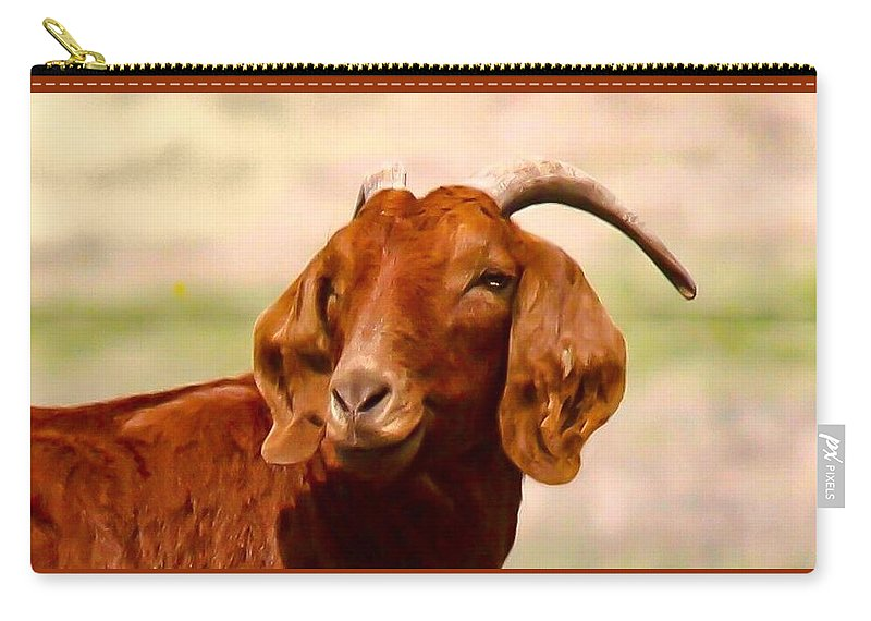 Goat Carry-all Pouch featuring the photograph Fancy The Red Goat by Jeanie Mann