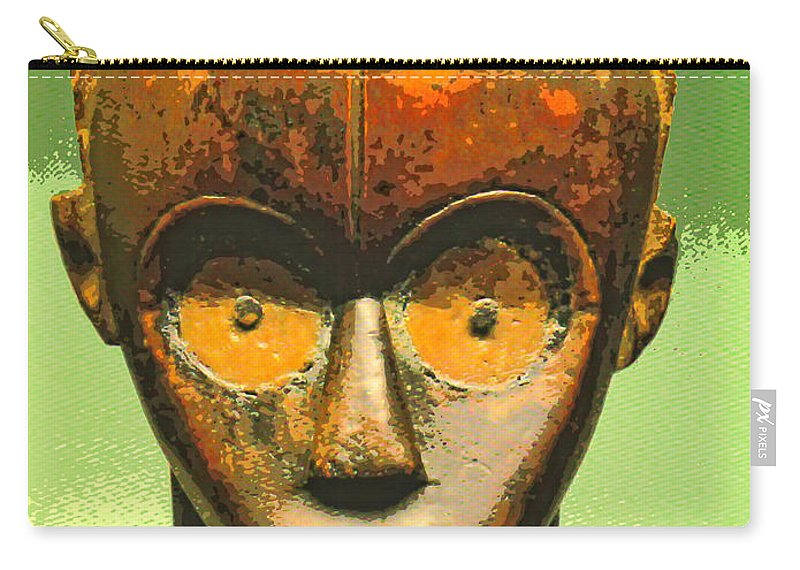 Africa Carry-all Pouch featuring the mixed media Fang Figure by Dominic Piperata