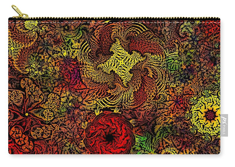 Abstract Digital Painting Carry-all Pouch featuring the digital art Fantasy Flowers Woodcut by David Lane