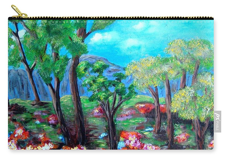 Fantasy Carry-all Pouch featuring the painting Fantasy Forest by Laurie Morgan