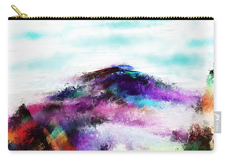 Digital Painting Carry-all Pouch featuring the digital art Fantasy Mountain by David Lane
