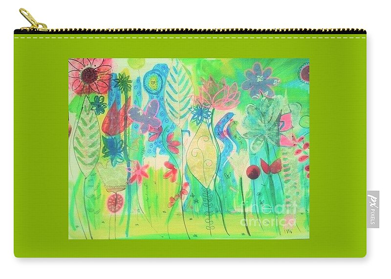 Flowers Carry-all Pouch featuring the painting Fantasy by Tatiana Vecchiato