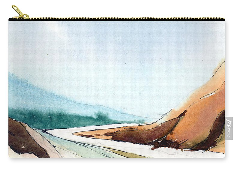 Landscape Carry-all Pouch featuring the painting Far Away by Anil Nene