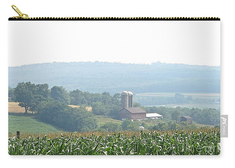 Misty Farm Scene Carry-all Pouch featuring the photograph Farm Country by Penny Neimiller