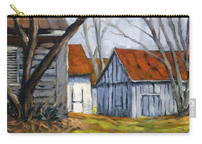 Farm Carry-all Pouch featuring the painting Farm In Berthierville by Richard T Pranke