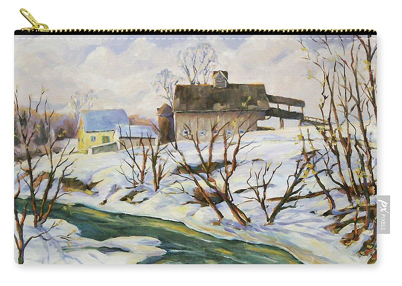 Farm Carry-all Pouch featuring the painting Farm In Winter by Richard T Pranke