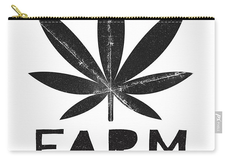 Cannabis Carry-all Pouch featuring the mixed media Farm To Couch Black And White- Cannabis Art by Linda Woods by Linda Woods