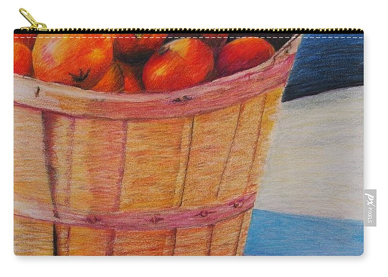 Produce In A Basket Carry-all Pouch featuring the drawing Farmers Market Produce by Nadine Rippelmeyer