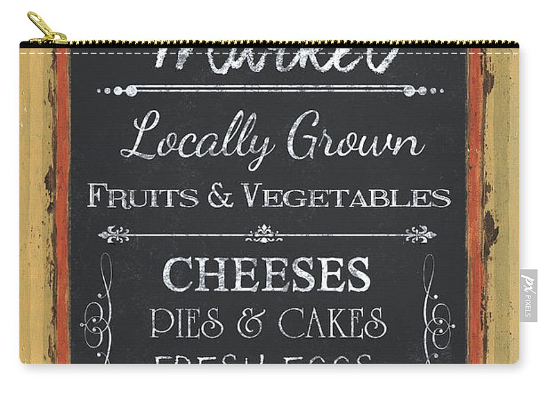 Farm Carry-all Pouch featuring the painting Farmer's Market Signs by Debbie DeWitt