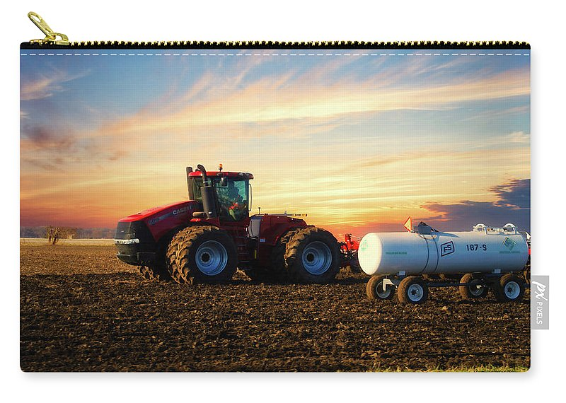 Farming Carry-all Pouch featuring the photograph Farming April In The Field On The Case 500 by Thomas Woolworth