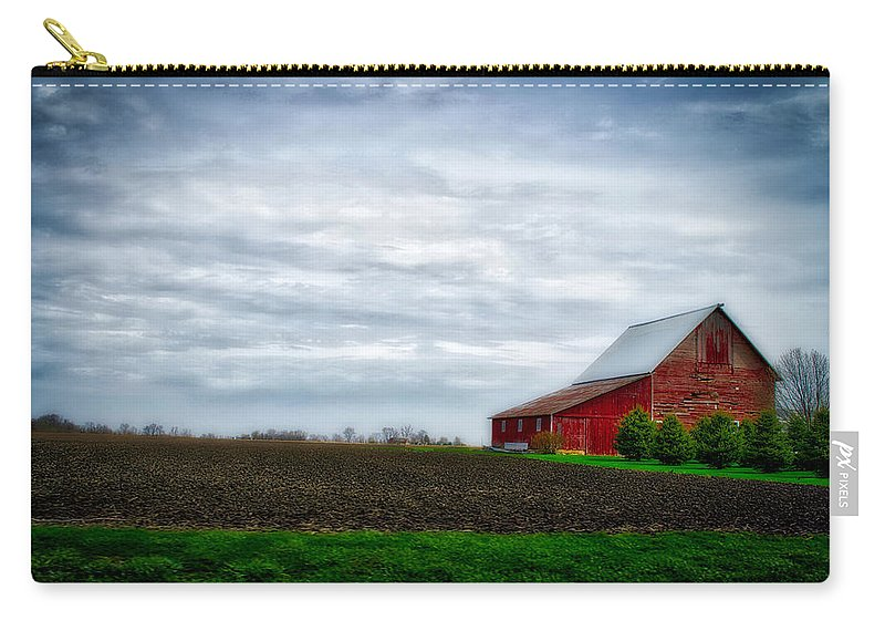 Red Barn Carry-all Pouch featuring the photograph Farming Red Barn On A Quite Spring Day by Thomas Woolworth