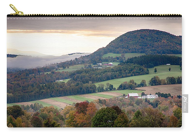 #foliage_reports Carry-all Pouch featuring the photograph Farms Under The Morning Fog by Jeff Folger