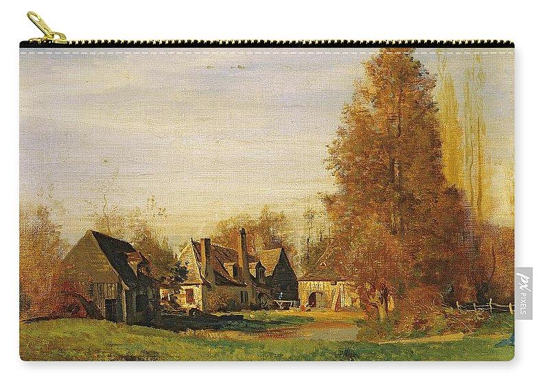 Farmyard Carry-all Pouch featuring the painting Farmyard by Francois Louis Francais