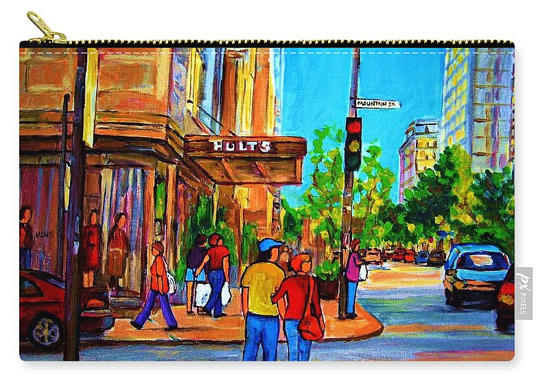 Holt Renfrew Carry-all Pouch featuring the painting Fashionable Holt Renfrew by Carole Spandau