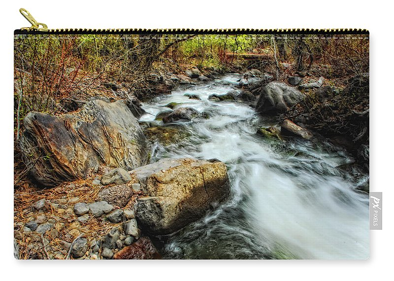 Creek Carry-all Pouch featuring the photograph Fast Forward by Donna Blackhall