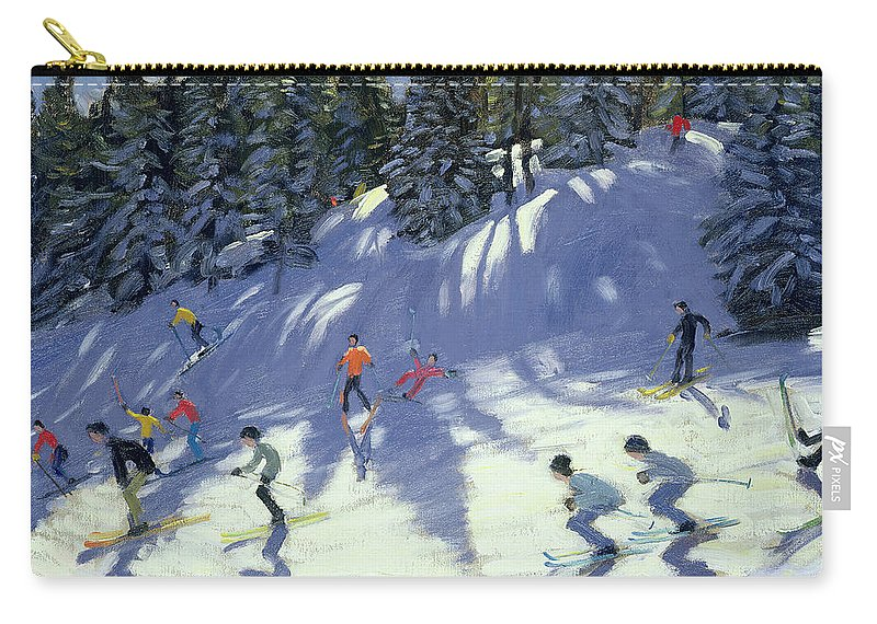 Skiers Carry-all Pouch featuring the painting Fast Run by Andrew Macara