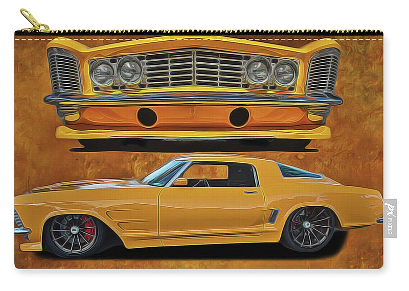 Performance Car Carry-all Pouch featuring the painting Fast Yellow by Harry Warrick