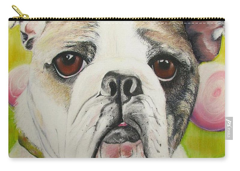 Dog Painting Carry-all Pouch featuring the pastel Fat Rose by Michelle Hayden-Marsan