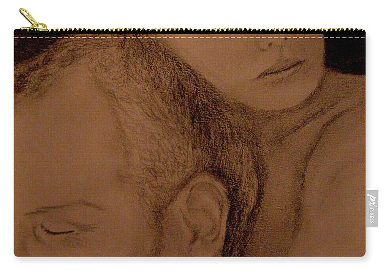 Portrait Carry-all Pouch featuring the painting Father And Son by Glory Fraulein Wolfe