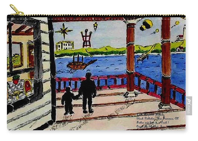 Boy Carry-all Pouch featuring the painting Father And Son On The Porch by Anthony Benjamin