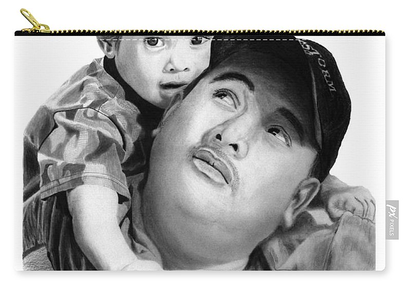Father And Son Carry-all Pouch featuring the drawing Father And Son by Peter Piatt