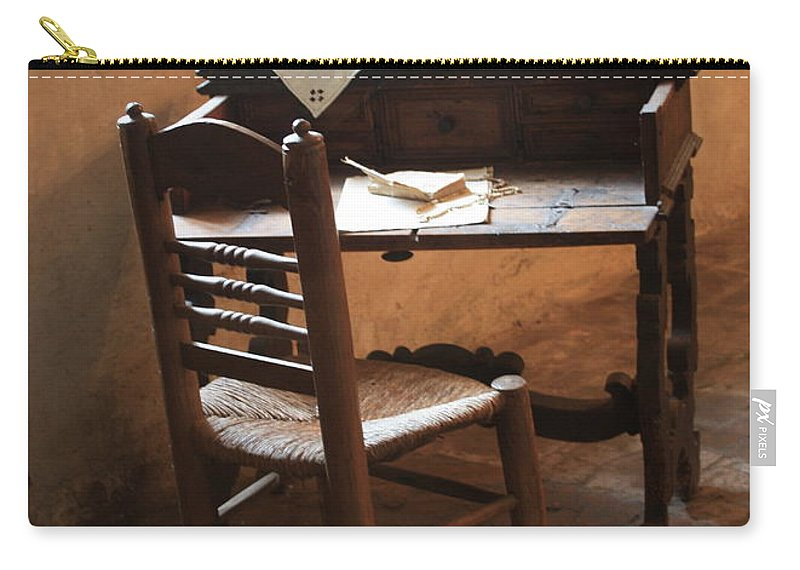 Carmel Mission Carry-all Pouch featuring the photograph Father Serra's Desk by Carol Groenen