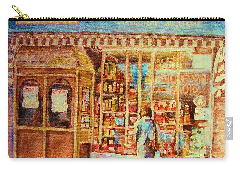 Markets Carry-all Pouch featuring the painting Favorite Viande Market by Carole Spandau