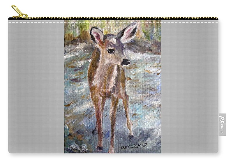 Fawn Carry-all Pouch featuring the painting Fawn by Olga Kaczmar