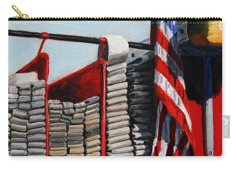 Fdny Carry-all Pouch featuring the painting FDNY ENGINE 59 American Flag by Paul Walsh