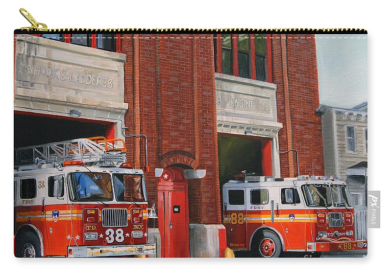 Fire House Carry-all Pouch featuring the painting FDNY Engine 88 and Ladder 38 by Paul Walsh