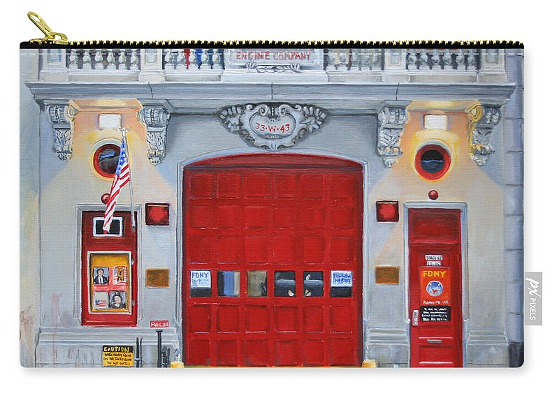 Fdny Carry-all Pouch featuring the painting FDNY Engine Company 65 by Paul Walsh