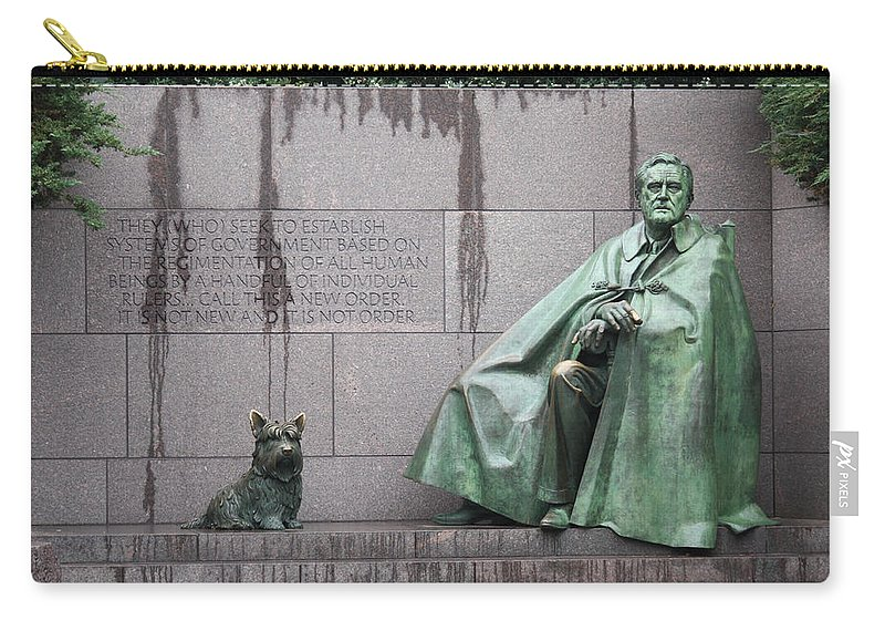 Fdr Carry-all Pouch featuring the photograph Fdr Memorial - Neither New Nor Order by Ronald Reid