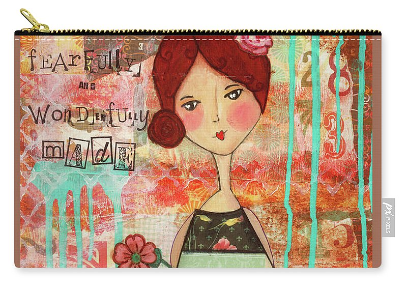 Whimsical Carry-all Pouch featuring the mixed media Fearfully And Wonderfully Made by Michelle Thompson