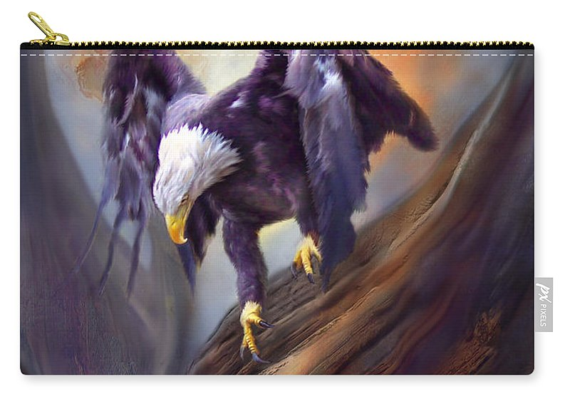Eagle Carry-all Pouch featuring the mixed media Fearless by Carol Cavalaris